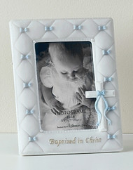 """7"""" Baptism frame for a Boy, holds a 3.5""""H x 5""""W photo.  Measures 7""""H x 5.5""""W x .5""""D. Made of Resin/Stone Mix and Glass"""