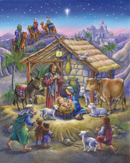 "A classic night time Nativity scene. Prepare for Christmas by opening a window each day during Advent to reveal a special picture. The front is accentuated with glitter and bible text that follows the story of the Nativity is presented on the back of each window. This Advent calendar measures 8 1/4""x11 3/4"". Easy to hang or display anywhere!"