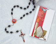 Confirmation Rosary, Red Enameled Holy Spirit Center, Black or Crystal Beads