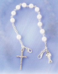 First Communion Pearl Bracelet with Chalice and Crucifix Charm. Claw closure