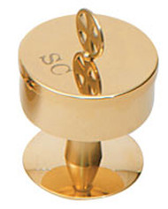 """4"""" Height Gold plated. Container 2-3/4"""" OD x 3/4"""" deep. Threaded cover engraved SC"""