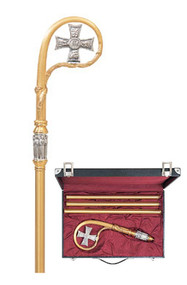 """Crozier comes with Cross symbol and six adorning angels on the node slightly oxidized. Crook section is richly textured metal with soft finish on 3-piece shaft and rubber tip on end. 71"""" height. Available in 24K gold plate or Silver plate. Price includes a sturdy lined case with lock and key Outside dimensions: 20"""" x 13-3/4"""" x 3-1/2"""" deep."""