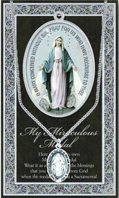 "Mary Miraculous Medal ~ 1.125"" Genuine Pewter Saint Medal with Stainless Steel Chain. Silver Embossed Pamphlet with Patron Saint Information and Prayer Included. Biography/History of Saint and gives the Patron's attributes, Feast Day and Appropriate Prayer. (3.25""x 5.5"")"