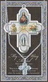 "1.125"" Genuine Pewter 4 Way Cross Medal with Stainless Steel Chain.  Comes with an appropriate prayer. Measures 3.25""x 5.5"""