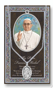 Pope Francis, Prayer Card and Pewter  Medal