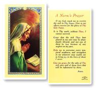 Nurse's Prayer, Madonna Praying Laminated Holy Card