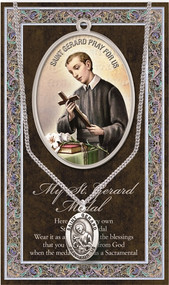 """St. Gerard,Prayer Card and Pewter Medal-Patron St. of Expectant Mothers ~  3"""" X 5"""" vinyl folder with removable oxidized medal Saint Gerard 1.125"""" Genuine Pewter Saint Medal with Stainless Steel Chain. Silver Embossed Pamphlet with Patron Saint Information and Prayer Included. Biography/History of Saint Gerard and gives the Patron's attributes, Feast Day and Appropriate Prayer. (3.25""""x 5.5"""")"""