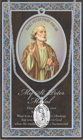 "Patron Saint of Fishermen, Bridge Builders, Foot Trouble. 3"" X 5"" vinyl folder with removable oxidized medal.  1.125"" Genuine Pewter Saint Medal won a Stainless Steel Chain. Silver Embossed Pamphlet with Patron Saint Information and Prayer Included. Biography/History of the Saint and gives the Patron's attributes, Feast Day and Appropriate Prayer. (3.25""x 5.5"")"
