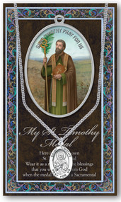St. Timothy, Prayer Card and Pewter Medal