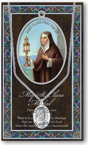 """St. Clare, Patron Saint of Eye Disorders and Television. A 1.125"""" Genuine Pewter Medal with Stainless Steel Chain. Gold Embossed  Prayer Card included with short biography of the saint included. (3.25""""x 5.5"""")"""