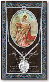 """Patron Saint of Wisdom. 1.125"""" Genuine Pewter Medal with Stainless Steel Chain. Gold Embossed  Prayer Card included with short biography of the saint included. (3.25""""x 5.5"""")"""
