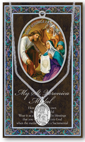 """Patron of Laundry Workers, Photographers. A 1.125"""" Genuine Pewter Medal with Stainless Steel Chain. Gold Embossed  Prayer Card included with short biography of the saint included. (3.25""""x 5.5"""")"""