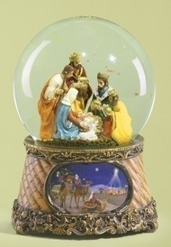 "Musical 6"" Nativity Scene that plays the ""Little Drummer Boy"" Dimensions: 5.875""H 4.125""W 4.125""L with 10MM Glass Dome. Materials: Resin/Glass"