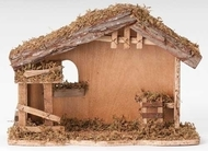 "Fontanini Stable to house your 5"" Fontanini nativity figures. Dimensions: 10""H X 13""L.  Made of Wood, Moss and Bark."