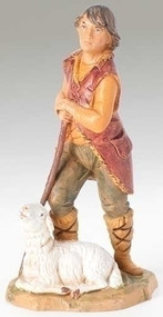 "Fontanini 5"" scale Paul the Shepherd with Sheep. Polymer Resin."