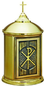 """All brass construction, satin finish with polished accents, satin lined inside, Door is 9.25""""W x 14.5""""H.  Overall Dimensions: 30""""H, 16.5"""" Base diameter, inside chamber diameter is 14""""."""