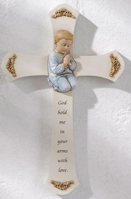"""8.25"""" Boy Praying Cross with the words """"God hold me in your arms with love"""" . Resin/Stone Mix. Measurements are 8.125"""" x 5.25""""W x 0.875""""D."""