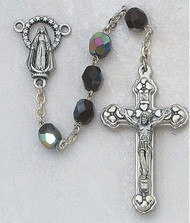 January - Garnet  6mm Aurora Glass Birthstone Rosaries. Gift Boxed. Crucifix and Miraculous Medal Center Piece are made of Silver Oxidised Metal.