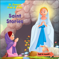 """Within each page of the board book is hidden a short glimpse of a Saint. All that is required of the child is to pull apart the illustration to reveal the story.  The book has 10 stories. 12 pages. Size 7.5"""" x 7.25"""". Written by Rev. Thomas J. Donaghy"""
