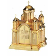 """26"""" high x 19.5"""" w x 19.25"""" deep with vault lock. Drawer located in the tabernacle base steps. High polish or satin finish with white fabric lining. Oven baked for durability. Supplied with two plain keys but fancy handled keys are available at an additional cost.  Call for quotes on brass or aluminum tabernacle. Made in the USA!!"""