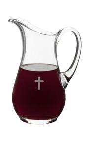 Glass Flagon with Cross 50 Ounce