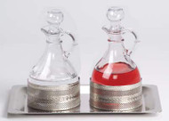 "Processional Cruet Set K241-6-1/2"" x 10"" stainless steel tray. Cruets 6"" height. 10 ounce capacity"