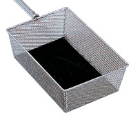 "Basket measure 8 x 12 x 4"" Deep, Nickel/Lined with Black felt. Rigid or Telescoping Handle. Telescoping Handle extends 45"" - 66"""