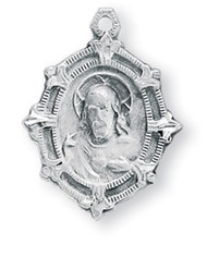 "13/16"" Sterling Silver Scapular medal with a cut out floret border showing the Sacred Heart of Jesus on the front and Our Lady of Mount Carmel on the reverse side. Medal comes with a genuine rhodium 18"" Chain and a deluxe velour gift box."