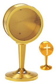 """Two Tone Gold Plated with Silver Plated Cross on back door. 7-1/2"""" Height. 3"""" opening for larger relics"""