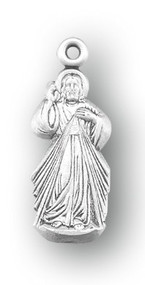 "7/8"" Sterling Silver Divine Mercy Medal on an genuine rhodium 18"" Chain in a deluxe velour gift box."