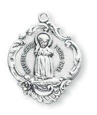 "1"" Sterling Silver Infant Jesus Medal with a genuine rhodium 18"" Chain in a deluxe velour gift box."