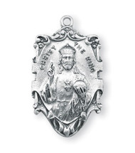 "1 1/16"" Sterling Silver Christ the King Medal with 24 inch genuine rhodium chain in a deluxe velour gift box."
