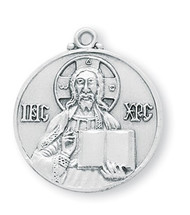 "1"" Round Sterling Silver Christ the Teacher Medal with genuine rhodium 24"" Chain in a deluxe velour gift box."