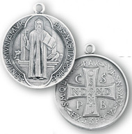 """1-1/2"""" Sterling Silver St. Benedict Medal with 27"""" Chain"""