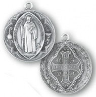 """1 3/8"""" Sterling Silver St. Benedict Medal with 27"""" Chain"""