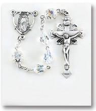 96 Faceted Round Aurora Swarovski Sterling Rosary