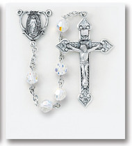 """8mm Aurora Sphere Shaped Swarovski Crystal Beads. All Sterling Silver Findings with Sterling Silver Miraculous Center and 2"""" Sterling Silver Crucifix. Sterling Silver Centerpiece and crucifix with rhodium plated brass findings. Deluxe Velour Gift Box Included. Made in the USA of solid sterling pins, chain, beads, centers, and crucifixes."""