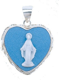 """Sterling Silver heart shaped Light Blue Cameo Miraculous Medal made in Italy of bas-relief blue and white Capodimonte porcelain. Encased in a 7/8"""" sterling silver Italian rope frame with a bale for an 18"""" rhodium plated endless curb chain in a deluxe velour gift box."""