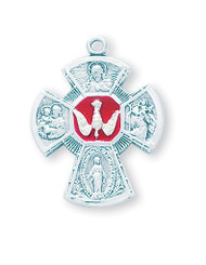 """Red Enameled 1-3/16"""" Sterling Silver Holy Spirit 4-Way Medal"""