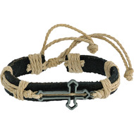 """Leather Bracelet with Sideways Cross. Made of Leather, Rope and Metal. Adjust Size w/Adjustable Slide Knot Approximately  6"""" (may be a bit bigger due to it being flexible). Proclaim your faith by wearing this handsome piece of Christian jewelry. Perfect for  youth, men and women too!  The sliding slipknot closure enables them to fit nearly everyone perfectly."""