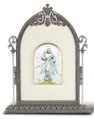 """6 1/2"""" x 4 1/2"""" Antique Silver Frame w/Sterling Silver Divine Mercy Image"""