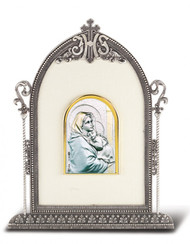 """6 1/2"""" x 4 1/2"""" Antique Silver Frame w/Sterling Silver Holy Family Image"""