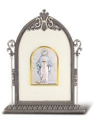 """6 1/2"""" x 4 1/2"""" Antique Silver Frame w/Sterling Silver Marriage Image"""