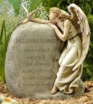 """12.5"""" In Loving Memory Angel Garden Stone. """"Unseen and Unheard but always near, so loved so missed, and so very dear.""""  Resin/Stone Mix. Dimensions:  11.25""""H x 9.5""""W x 5.25"""" D"""