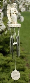 """18"""" Praying Angel Windchime. """"I am with you always"""". Resin/Stone Mix and Metal. 3.25""""W x 2.38""""D x 18""""L"""