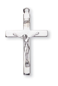 "Sterling Silver Crucifix Pendant with 20"" Rhodium Plated Chain"