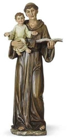 """14"""" Saint Anthony Statue, Patron Saint of Lost Things. Resin/Stone Mix. Dimensions: 14.5""""H x 6.25""""W x 4.75""""D"""