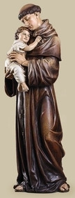 "37"" Saint Anthony. Patron Saint of Lost Articles. Resin/Stone Mix. Dimensions: 37""H x 13.75""W x 12""D"