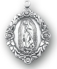 """11/16"""" Sterling silver Our Lady of Guadalupe Floral Medal on an 18"""" rhodium or gold plated chain in a deluxe velour gift box."""