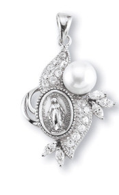 "1-1/2"" Sterling Silver Miraculous Medal is set in an ornate frame with one 7mm Pearl and 13 Swarovski clear set cubic zircons. Comes on an 18"" rhodium plated curb chain and a deluxe velour gift box. Made in the USA."